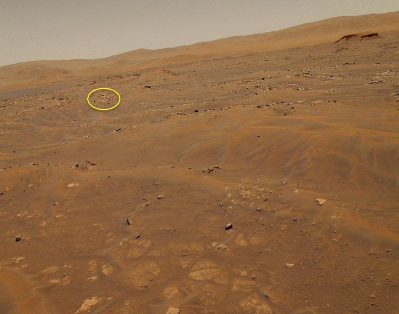 Persy Image du paysage martien prise par Ingenuity au cours de son 6ème vol. Cette zone a été nommée Alk-i-sikad.